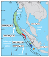 Length of most recent Sumatra megathrust ruptures